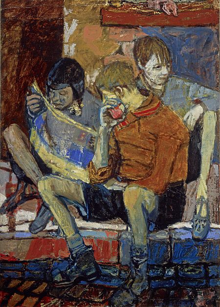 JOAN KATHLEEN HARDING EARDLEY (1921-1963) - Street Kids...In 1947 she spent some months at the residential art school at Hospitalfield, near Arbroath, training under James COWIE, returning to GSA to take up post-Diploma scholarship. In 1948-9 she travelled in Italy and France and the resulting sketches and paintings were exhibited at her first solo show at GSA in 1949.