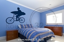 Bike And Board And Beach Bound - surfing wall decal for home or office- Surfing Decor - Beach Decal