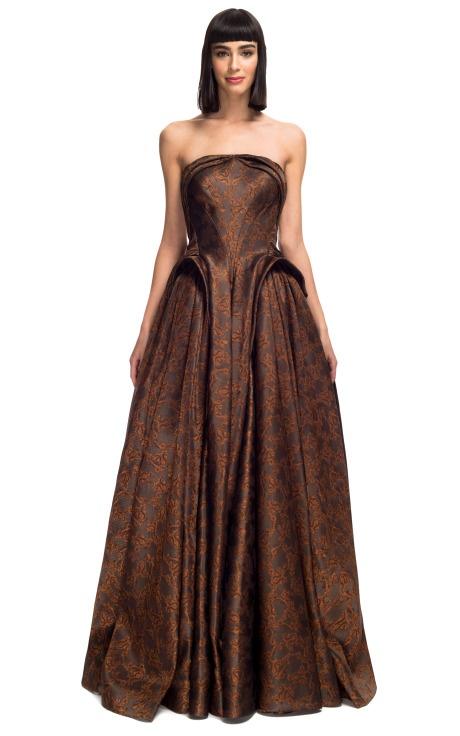 Sepia Ottoman Jacquard Gown Zac Posen F/W 2013 Trunkshow