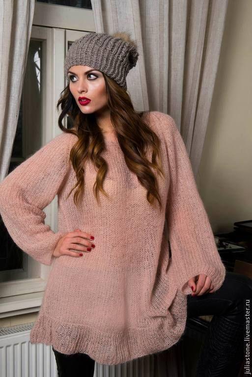 """Купить Свитер-платье """"Мягкая Пушинка"""" - кремовый, однотонный, платье, свитер, пуловер, пуловер вязаный"""