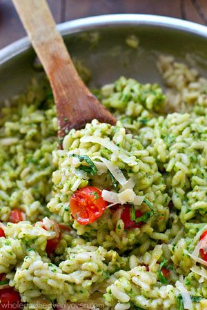 Parmesan Pesto Risotto with Cherry Tomatoes