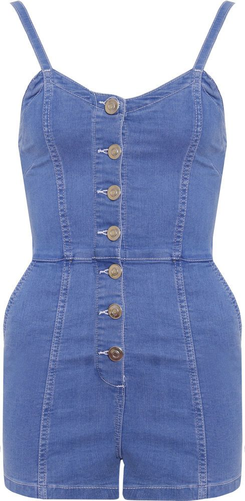 Womens Sleeveless Strappy Denim Playsuit Ladies Button Through Pockets Shorts in Clothes, Shoes & Accessories, Women's Clothing, Jumpsuits & Playsuits | eBay