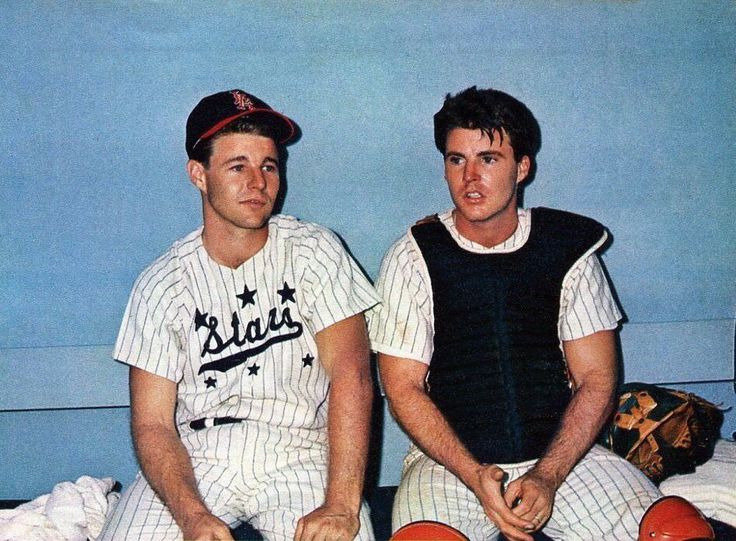 David and Rick Nelson in a celebrity baseball game, 1963