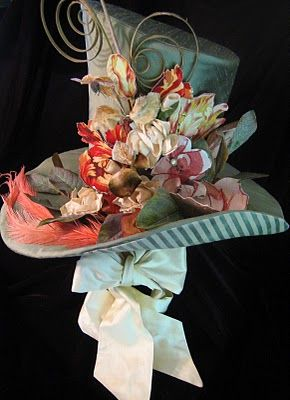Sweet Top hat! wonderful floral renaissance style top hat,be the best known guest at a wedding or garden party in this ,its hatter but not mad?