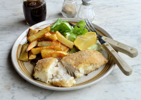 Healthy Fish and Chips for Fish on Friday: Baked Hake  Oven Chips Recipe