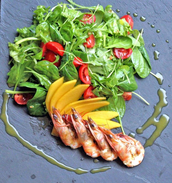 Green salad with shrimps, mango, cherry tomatoes with balsamic vinaigrette !!!Paparouna Wine Restaurant & Cocktail Bar | Our dishes are ready!!!