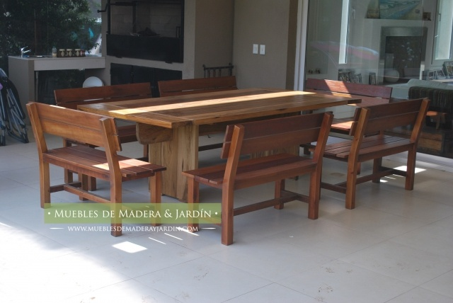 Mesa rustica de madera con bancos mesas pinterest mesas - Mesa con bancos ...