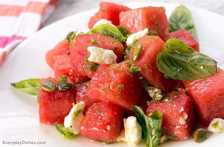Salty, sweet and crisply herby—this watermelon basil salad with feta cheese is the bees knees!