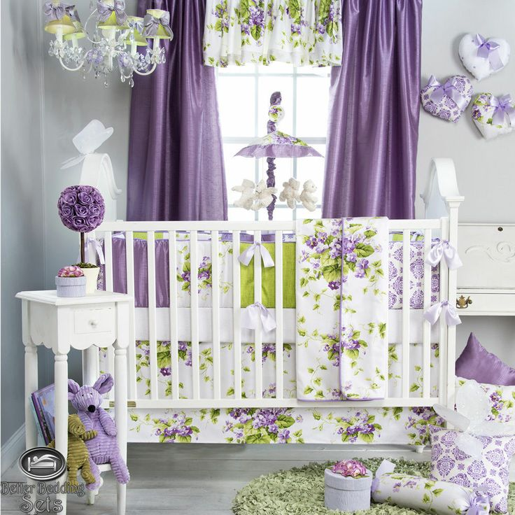 Baby Girl Purple Green White Floral Shabby Chic Crib Nursery Quilt Bedding Set