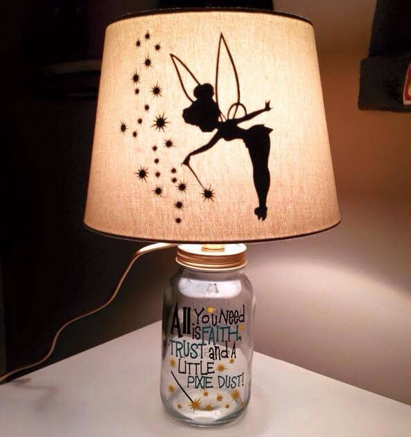 Tinkerbell lamp!!                                                                                                                                                     More