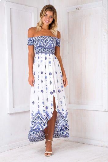 Gili Island maxi dress - White/Blue $75