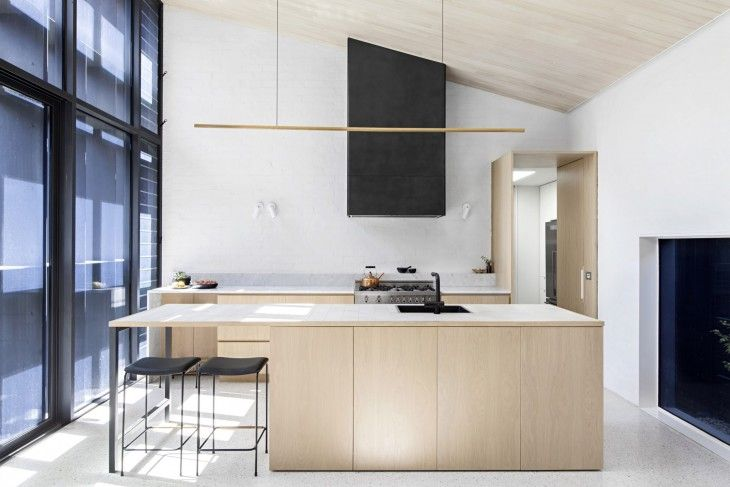ANGLED CEILING, KITCHEN LIGHT, CLADDING- Baffle House | Clare Cousins Architects