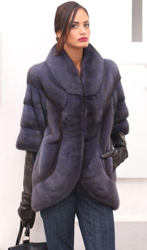 Female Mink Fur Coat with whole skins. Made in Italy. Skins Quality: Kopenhagen Fur Platinum; Color: Blue Denim; Closure: With hooks; Collar: Round; Lining: 100% Satin; Lining Color: Fantasy, Multicolor; Length: 75 cm; #elsafur #fur #furs #furcoat #coat #mink #minkcoat #cappotto #peliccia #pellicce