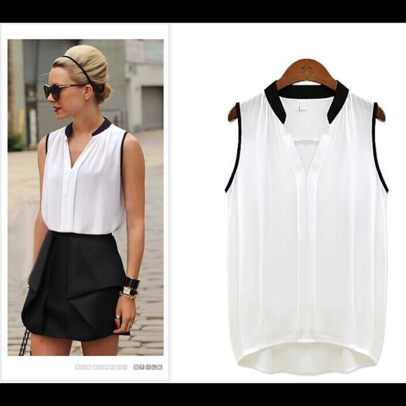 Chiffon Sleeveless Blouse PLEASE DO NOT PURCHASE THIS LISTING, COMMENT BELOW AND I WILL CREATE A SEPARATE LISTING FOR YOU.                                      Colors: WHITE Sizes: L  SHIRTS RUN TRUE TO SIZE.    From a Boutique. Comment below with color and size and I will make you a listing Zara Tops Blouses