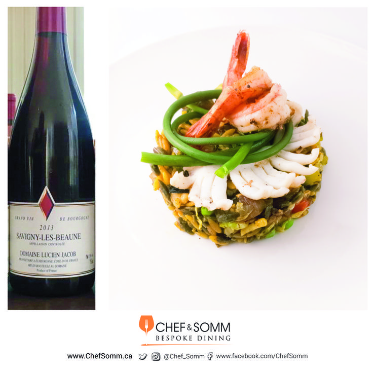 Orzo, Grilled Calamari, Pan Seared Shrimp & Poached Garlic Scape w/ Lucien Jacob Savigny-Vergelesses 1er Cru Blanc 2011 More on this pairing on our IG and FB pages