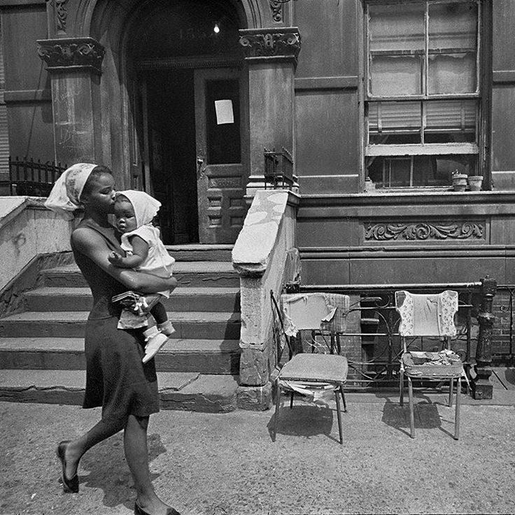 """A mother walking with her child in Harlem. On August 8, 1966, @nytimes ran a story that said many #Harlem residents wished more white people would visit…"""