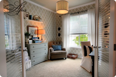 stencil painted wallpaper