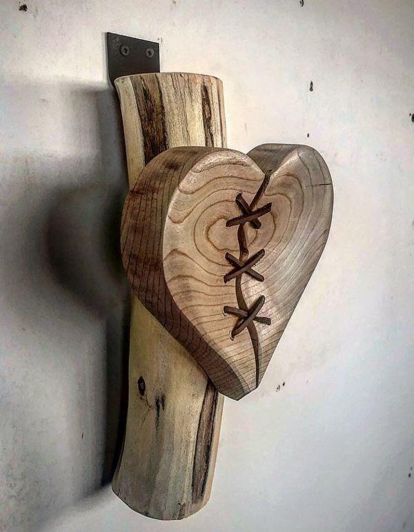Cut Wood Section Mounted on Wood Base Vintage Wood Art