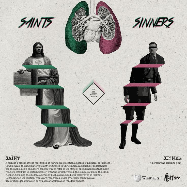 Which one you choose ? being a saint or sinner ? its all about choice .