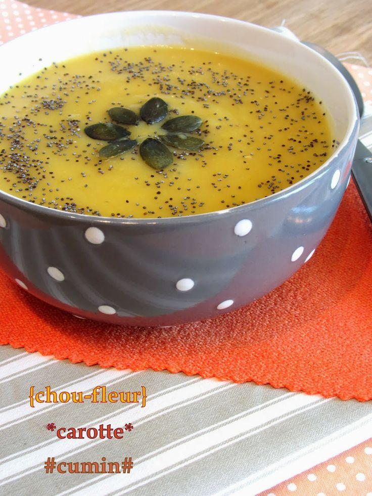 Velouté de chou-fleur et carotte au cumin  http://tomatesansgraines.blogspot.fr/2014/02/veloute-de-chou-fleur-et-carotte-au.html