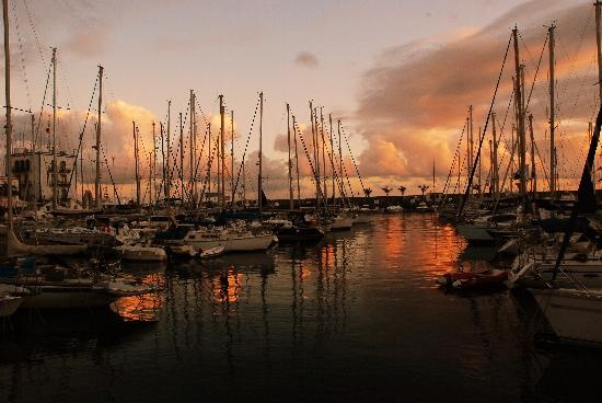 Puerto Mogan harbour sunset with Phil. June 2011 and September 2012.