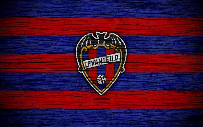 Download wallpapers FC Levante, 4k, Spain, LaLiga, wooden texture, soccer, Levante, football club, La Liga, Levante FC