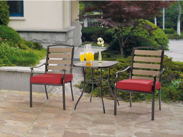 Outdoor Bistro Set 3 Piece Patio Furniture Table Chairs Dining Pool Garden  Deck #Mainstays