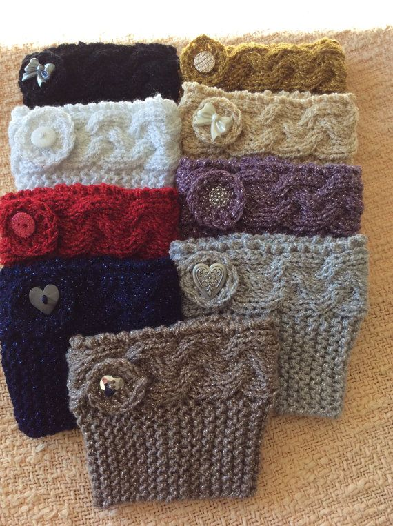 Metallic Knitted Boot Cuffs with Button Trim
