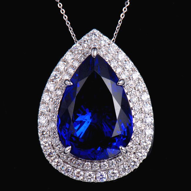 12 best tanzanite necklaces and pendants images on pinterest luxury 18k gold natural 45ct pear 1826mm block d aaaa tanzanite diamond pendant aloadofball Images