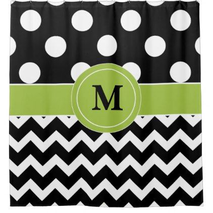 Black Green Dot Chevron Monogram Shower Curtain - black gifts unique cool diy customize personalize