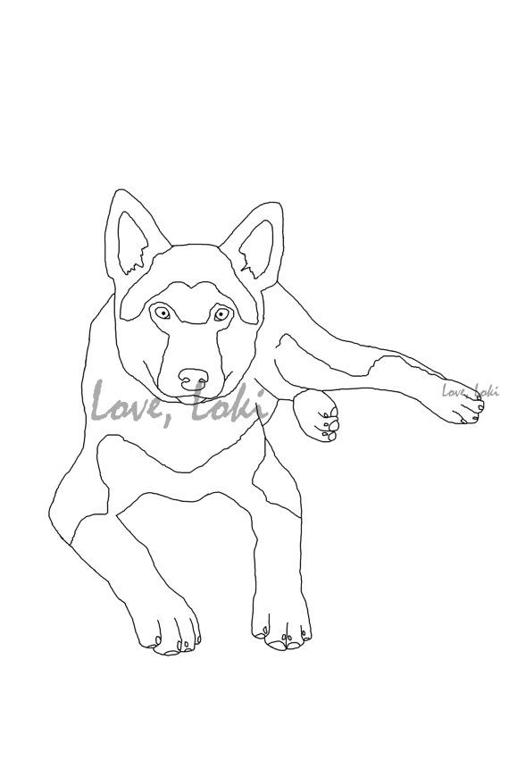 German Shepherd Dog Coloring page Printable Instant by