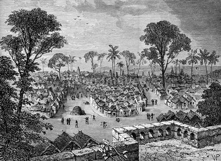 """Original caption: """"Coomassie."""" Depicts Kumasi, capital of the Ashanti region of Ghana; site of skirmishes during wars between Great Britain and Ashanti (AKA Asante) Empire during the 19th century. Image published: 1901. This Day in History: Apr 23, 1873: The second Ashanti War breaks out in Africa http://dingeengoete.blogspot.com/"""