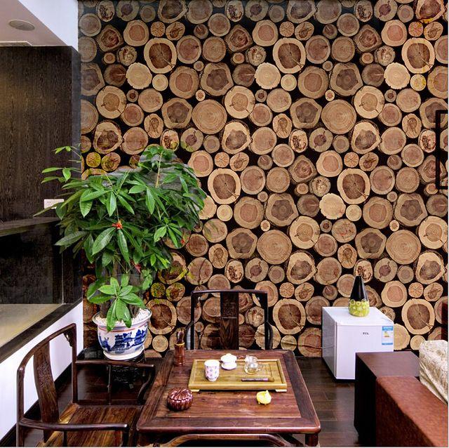 Super Dikke 3D Hout Log Textuur Reliëf PVC Waterdichte Muur Papierrol Livingroom Desktop Behang Mural Papel De Parede