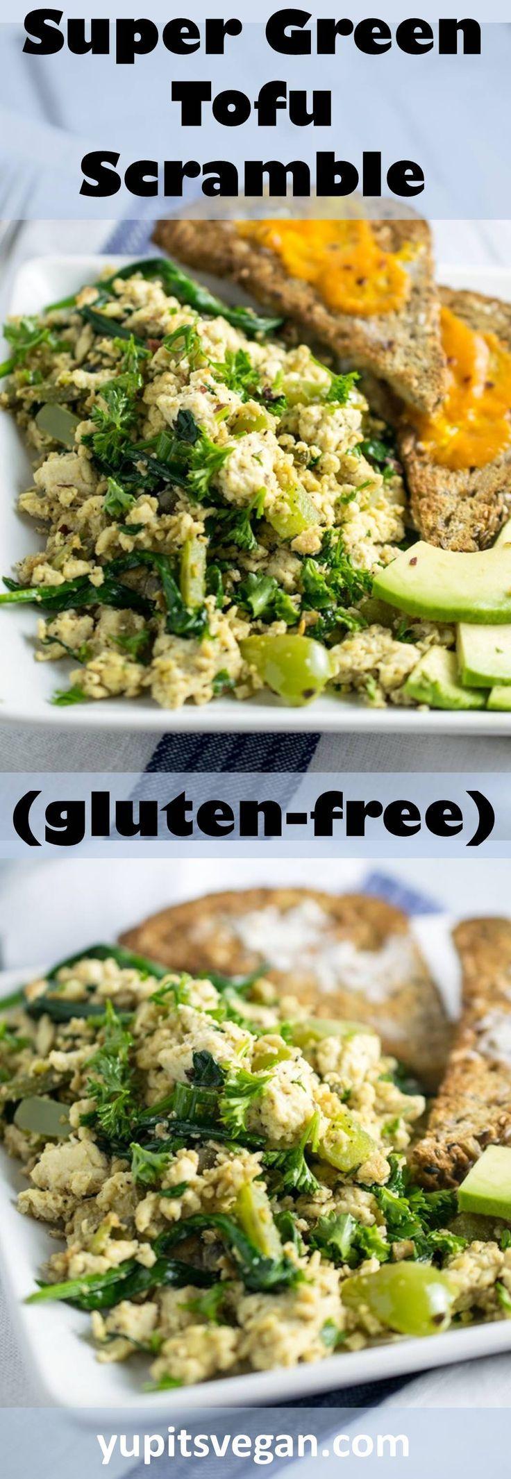 Super Green Tofu Scramble | Yup, it's Vegan. Healthy tofu scramble packed with greens and an herbed tahini sauce.