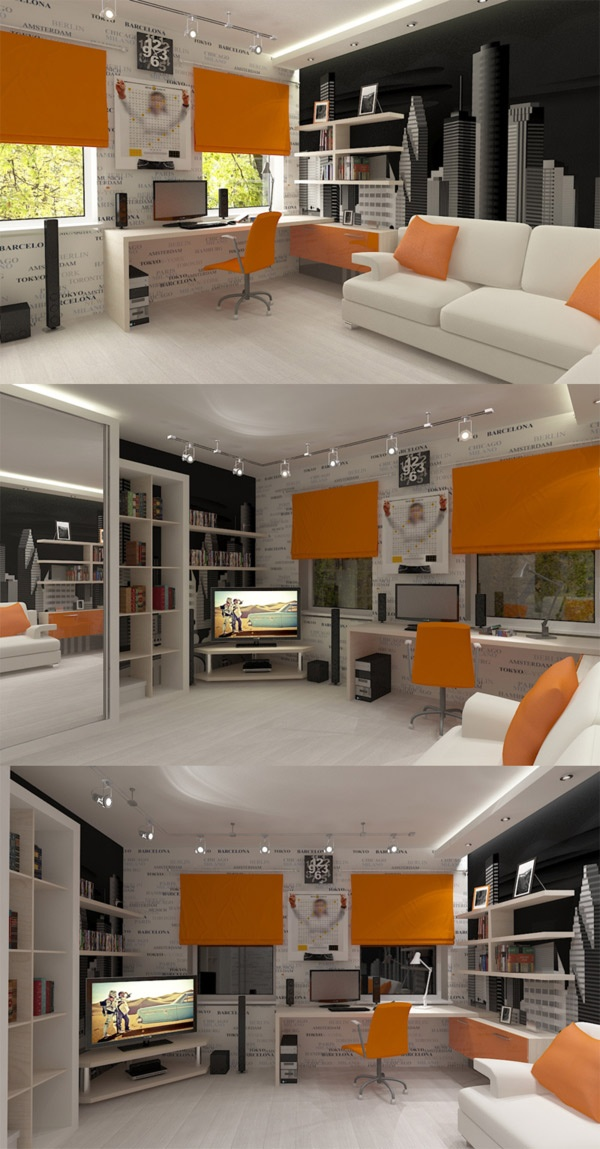 Svart/vitt/orange