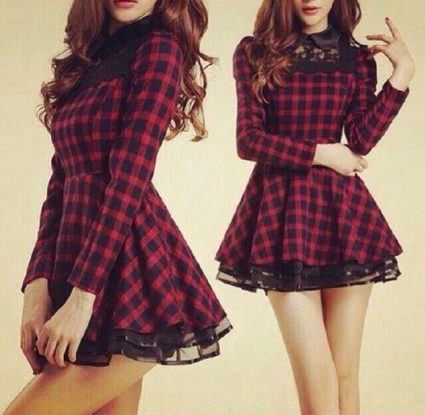 dress black red checkered grunge punk rock lace dress black dress red dress