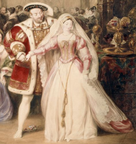 Henry VIII & Anne Boleyn  - detail from  'The Banquet of Henry VIII in York Place' (Whitehall Palace) (painted in 1832).  The artist, James Stephanoff (1788-1874) was the son of a Russian stage designer who settled in London. Stephanoff became the official 'Historical Painter in Watercolors' to King William IV.