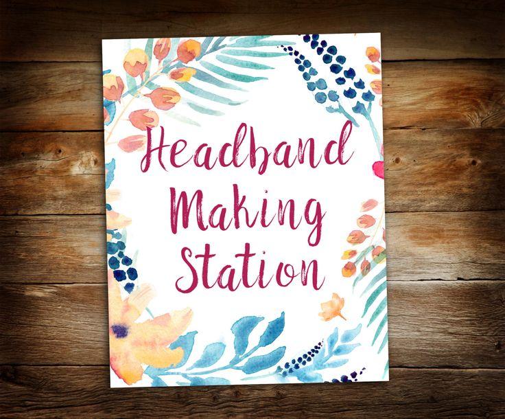"Headband Making Station - Make a Headband - Baby Shower Sign - Baby Shower Decoration Station - Print at Home 8"" x 10"""