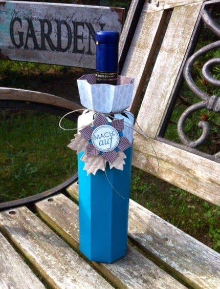Wine Bottle wrap using the Envelope Punch board. Verpackung für Weinflaschen mit dem EPB