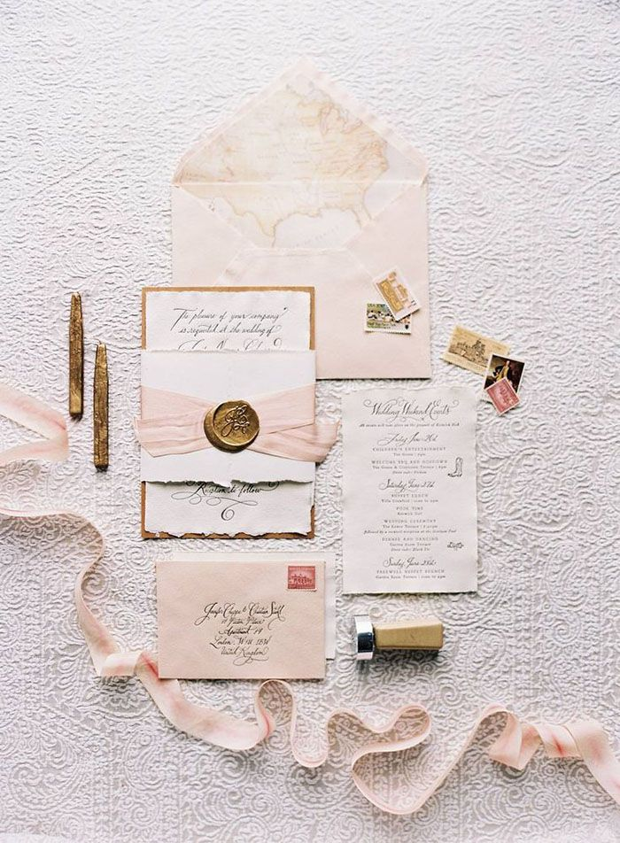 Pink and Antique Gold Wedding Invitations