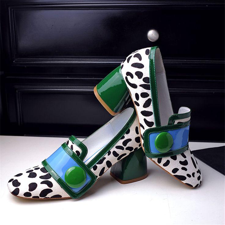 Купить Женские туфли на высоком каблуке натуральная кожа конский волос одного…