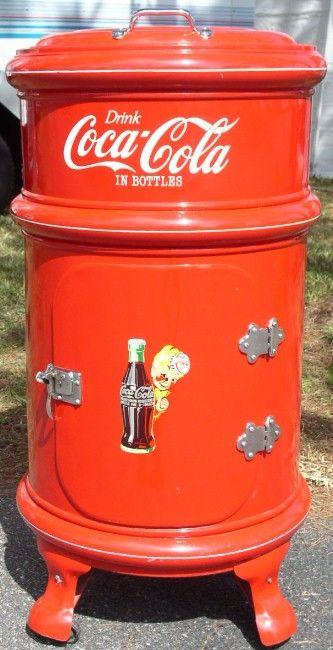 vintage icebox images | Round Metal Coca Cola Ice Box, 1908, BRASS LANTERN ANTIQUES