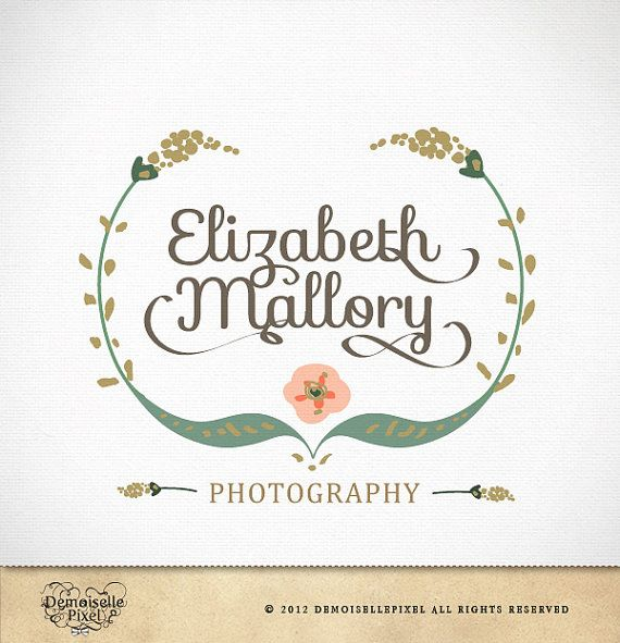 Vintage Logo Custom Hand Drawn Calligraphy by Demoisellepixel, $39.90
