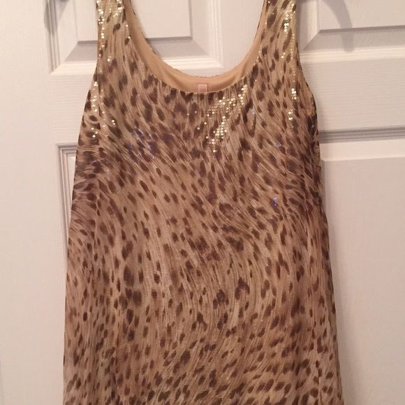 Animal print sequin dress Gold sequin slip under beige and brown animal print top layer dress. Never been worn!! B44 Dressed Dresses Mini