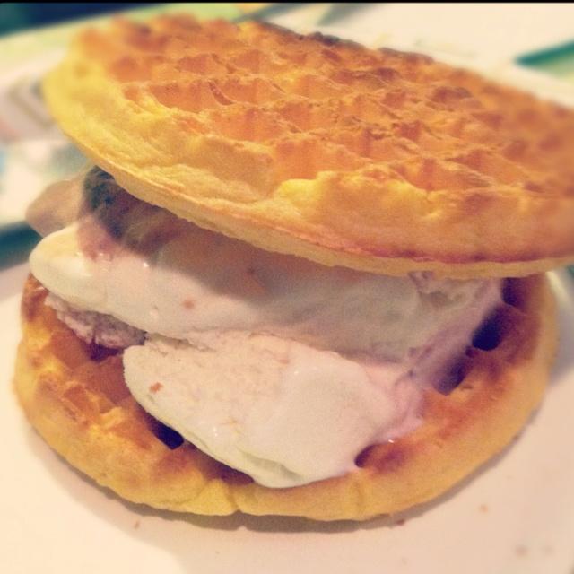 Waffle ice cream sandwich! Neapolitan ice cream :)