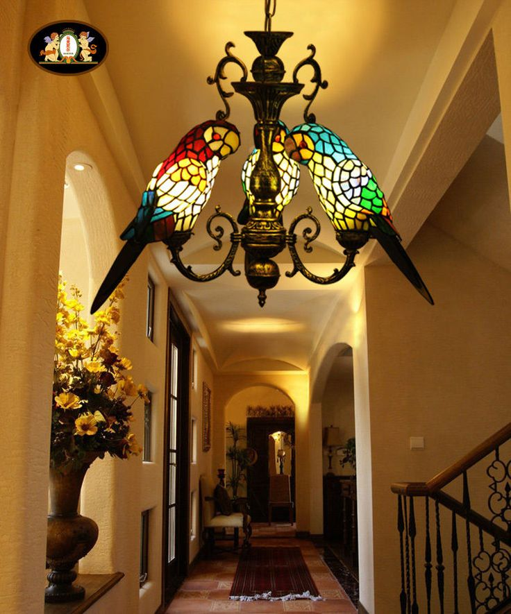 Tiffany Style Stained Glass Three Parrots Hanging Lamp Chandelier