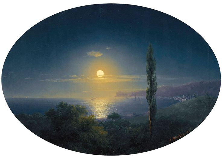 Ivan Konstantinovich Aivazovsky. Crimean coast by moonlight, Original Size: 40 x 56 cm, Date: 1853. Buy this painting as premium quality canvas art print from Modarty Art Gallery. #art, #canvas, #design, #painting, #print, #poster, #decoration