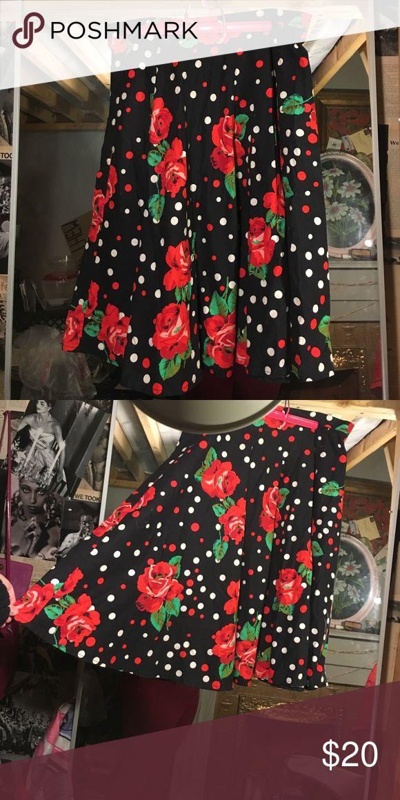 Vintage rose print polkadot circle skirt Lovely vintage black circle skirt with big roses and red and white polkadots Vintage Skirts Circle & Skater