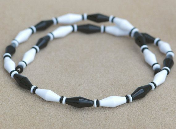 Black and White Plastic Bicone Bead Necklace by HighClassHighway