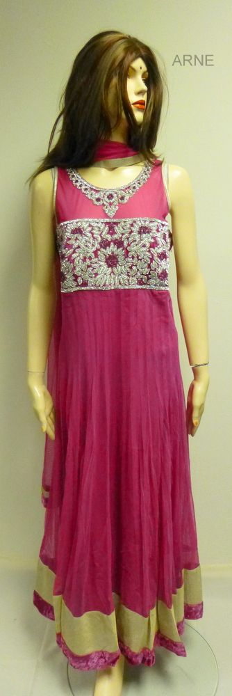 Size 40  -Pink soft net long anarkali with diamond stone embellishment around the  neck  - Pink silk chudidar and net pink dupatta  - Sleeves attached